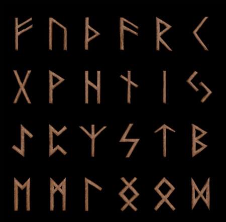 runes: Illustration of wooden runes