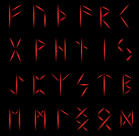 runes: Set of mystical runes in red glow coloring
