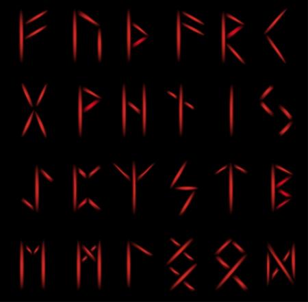 rune: Set of mystical runes in red glow coloring