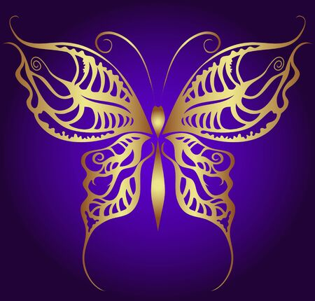butterflies nectar: Golden butterfly on violet Illustration