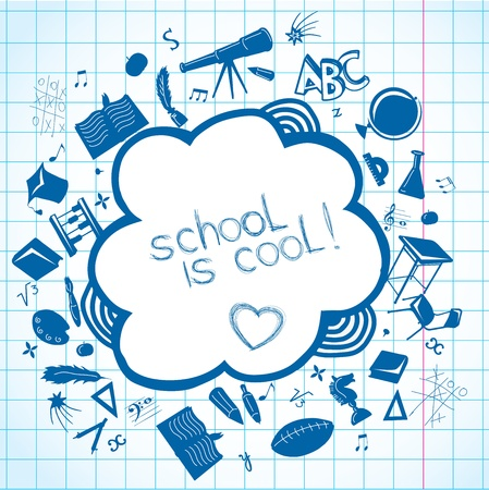 Background with  school accessories  Vector