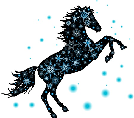 illustration silhouette has stood on its hind legs of the horse with snowflakes Vector