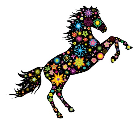 illustration silhouette has stood on its hind legs of the horse flowers and stars  Illustration