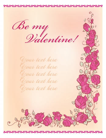 valentine greeting card with roses border on a white background Vector