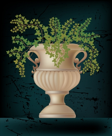 illustration of antique amphora with ivy plant on black Stock Vector - 14733541