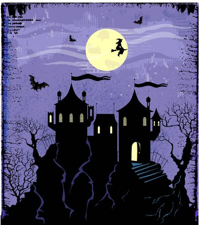Illustration of silhouette old scary castle on the hill Vector