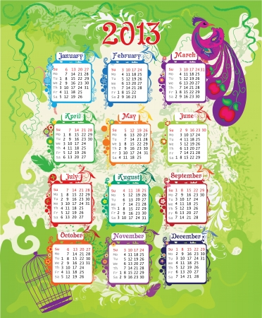 Calendar 2013 with colorful background and bird   week starts with sunday  Vector