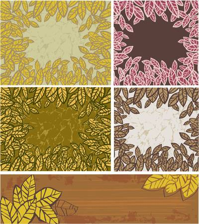 Set of backgrounds with autumn leaves Stock Vector - 14881919