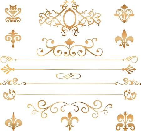 Set of golden vignettes, patterns and details for design  일러스트