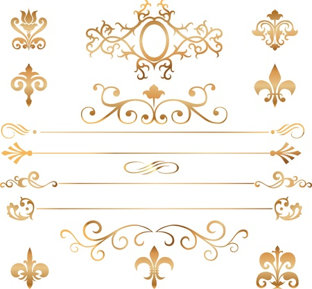 Set of golden vignettes, patterns and details for design  Illustration
