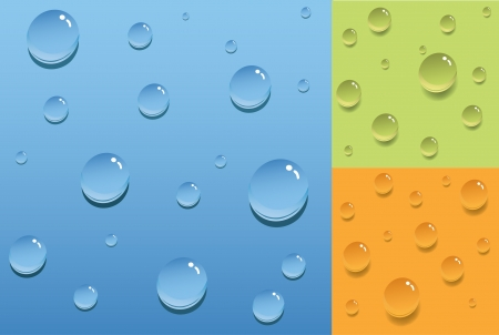 refreshed: transparent drops on colored surfaces Illustration