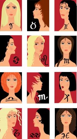 niñas gemelas: conjunto de iconos horoskope