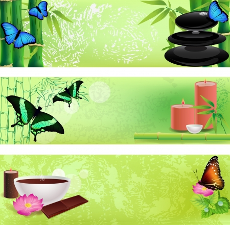 spa stones: Set of colorful zen and spa backgrounds Illustration