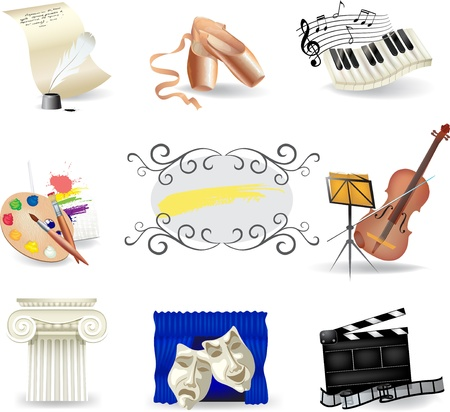 Set of art and entertainment symbols Stock Vector - 15065117