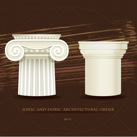 ionic: Illustration of Ionic and Doric architectural order s details