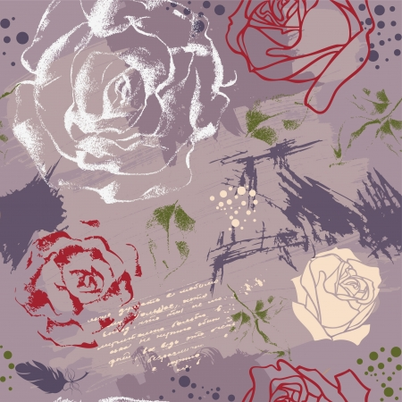 Seamless background with roses, brush strokes and calligraphy