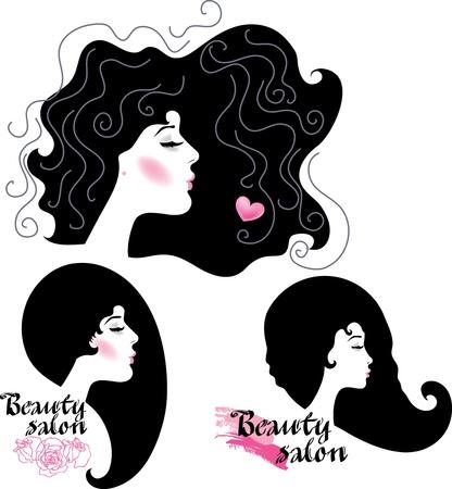 Set van logo's schoonheidssalon met vrouwelijk gezicht Stock Illustratie