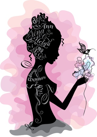 names: Woman silhouette with flower  made from names and letters