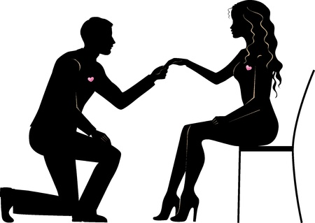 Illustration of a man makes the bride wedding proposal Vector