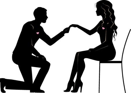 ajoelhado: Ilustração de um homem faz a proposta de casamento da noiva Ilustração