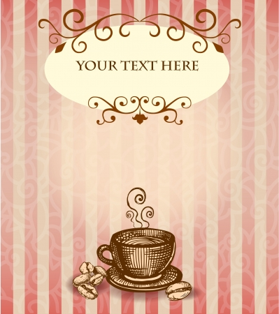 hot line: Background with cup of coffee in English style
