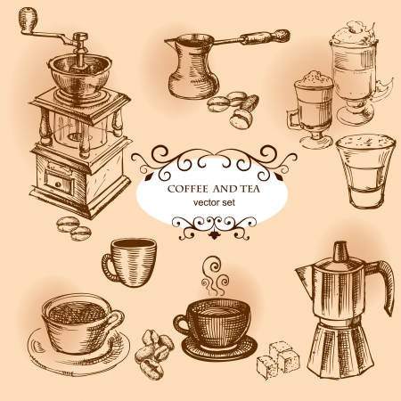 Coffee hand drawn elements  Set of drawings for design Vector