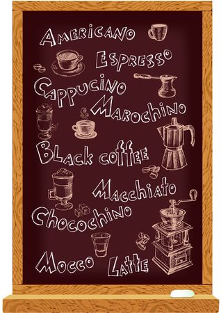 Cafe menu blackboard with hand drawn names and coffee elements Vector