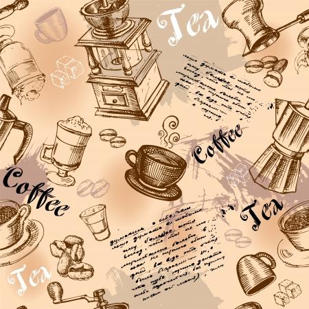 Naadloze koffie achtergrond met de hand getekende elementen