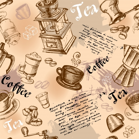 Seamless coffee background with hand drawn elements Vector