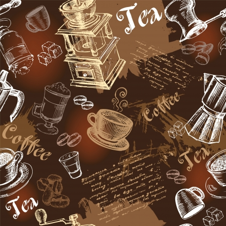 Seamless coffee background with hand drawn elements 版權商用圖片 - 15786345