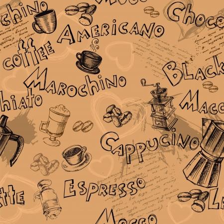 Nahtlose Kaffee Hintergrund mit Hand gezeichneten Elemente