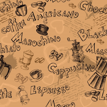 cappuccino: Seamless coffee background with hand drawn elements