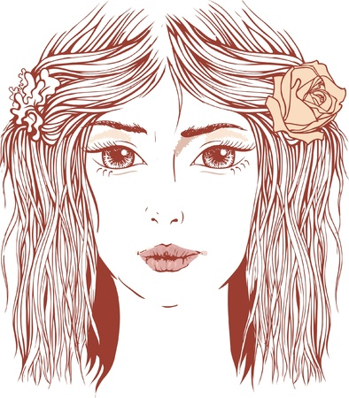 Artistic portrait in watercolor style of young beautiful girl with flower in her hair Vector