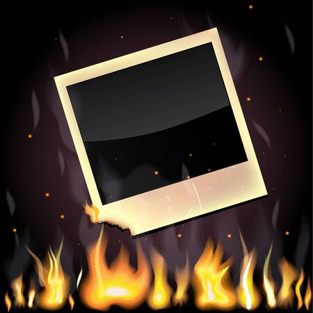 Illustration of empty photo card, burning in the flame Stock Vector - 15922812