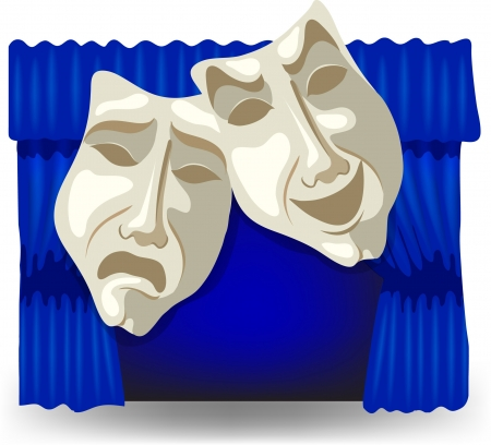 comedy tragedy: Illustration of tragic and comic mask on a theater curtain background Illustration