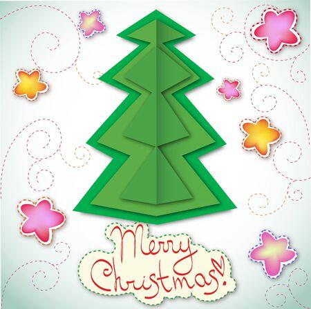 Christmas tree applique vector card Stock Vector - 16118446