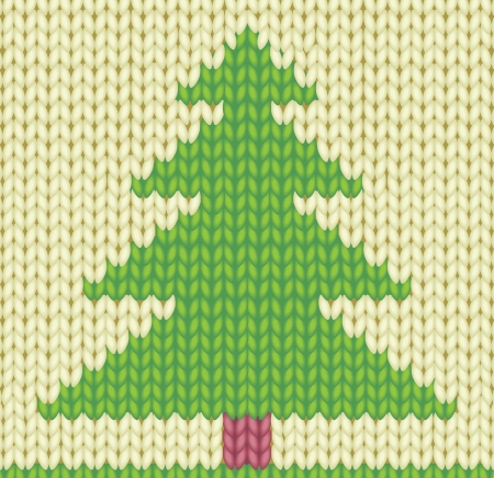 Background with knitted Christmas tree Vector