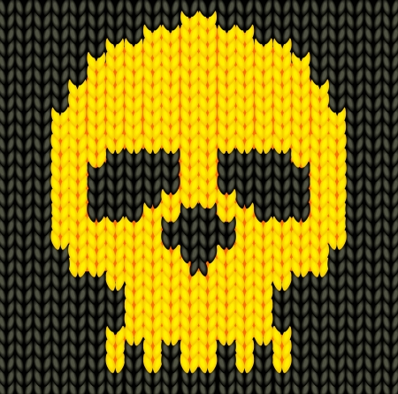 Knitted hand made skeleton background Vector