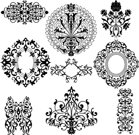 ornamental background: Set of decorative vintage floral patterns on white