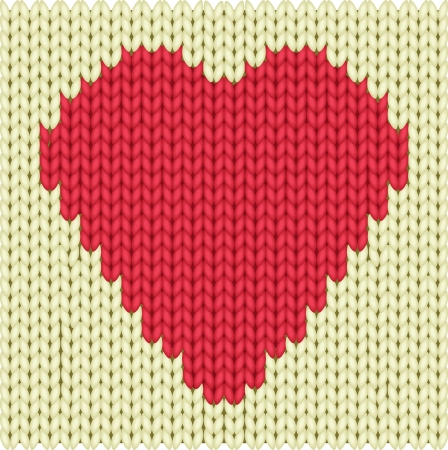 cotton wool: Knitted textile decorative valentine heart