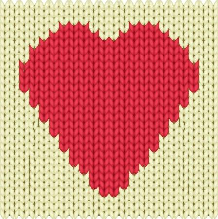 Knitted textile decorative valentine heart Фото со стока - 16118449