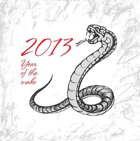 Snake symbol 2013 on grunge background Stock Vector - 16118450
