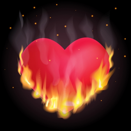 red love heart with flames: Ilustraci�n del coraz�n alegor�a quema Vectores