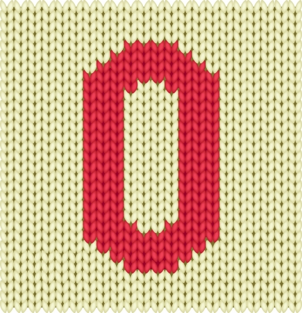wool texture: Knitted textile figure of number zero