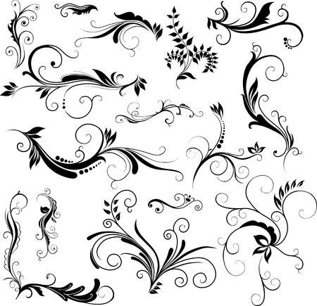 Conjunto de dibujado a mano motivos florales Ilustración de vector