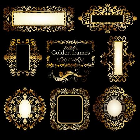 Set of decorative vintage floral golden patterns