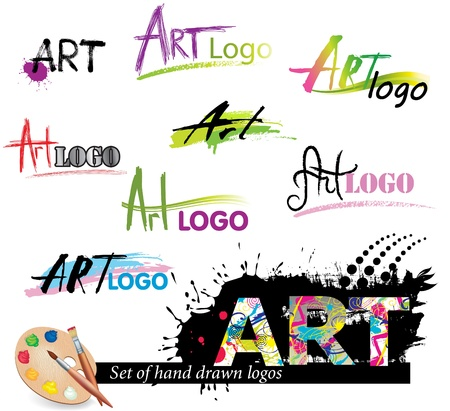 art palette: Set of hand drawn  grunge logos, based on word