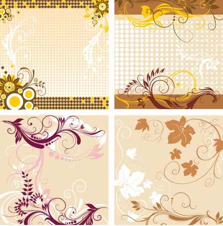 Set of floral decorative backgrounds Vector