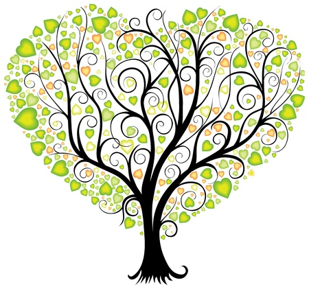 Decorative tree with leaves in shape of heart Stock Vector - 16789169