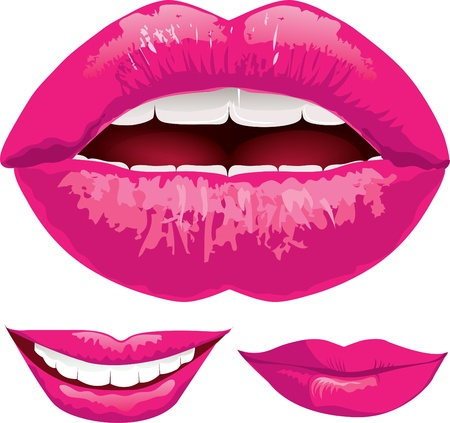 Set of illustration pink shiny lips Illustration